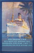 Vintage German shipping poster -  Woermann line 1923